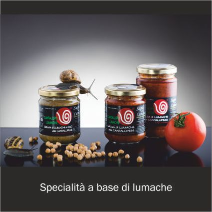 Vendita on line di preparati a base di lumache: vasetti di sugo di lumache e crema di lumache e ceci alla cantalupese